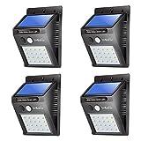 Liveditor Lighting 320-W/4, 20 LED Solar Motion Sensor Light, Outdoor Weather-Proof for Driveway Garden Path Yard, 4 Piece