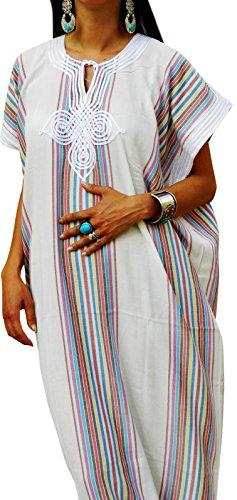 mano realizzato da bianco Caftano a spiaggia colore soprabito elegante donna da wSAnC1q