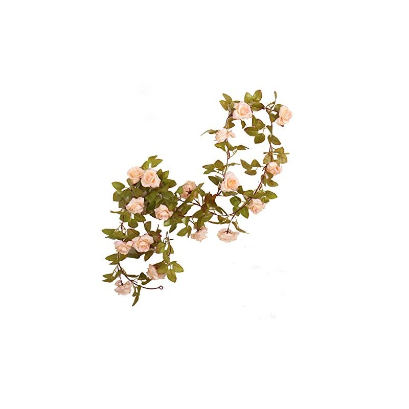 silk flower arrangements li hua cat rose garland artificial rose vine with green leaves 63 inch pack of 3 flower garland for home wedding decoration (17rose-apricot)