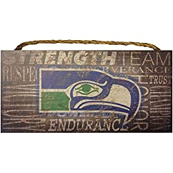 Seattle Seahawks NFL Team Classic Logo Garage Home Office Room Wood Sign with Hanging Rope - Collage 6X12 Heritage