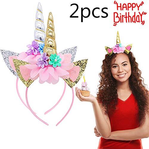 Unicorn Headband - 2Pcs Gold Horn Headband Ears Photo Props Girl Birthday Outfit-Handmade Unicorn Headbands Party Supplies]()