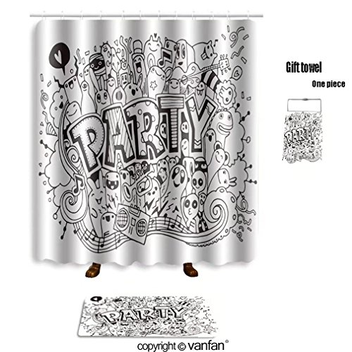Paris Damask Basic Party Pack (vanfan bath sets with Polyester rugs and shower curtain hand drawn doodle party set sketch icons for shower curtains sets bathroom 40 x 72 inches&23.6 x 15.7 inches(Free 1 towel and 12 hooks))