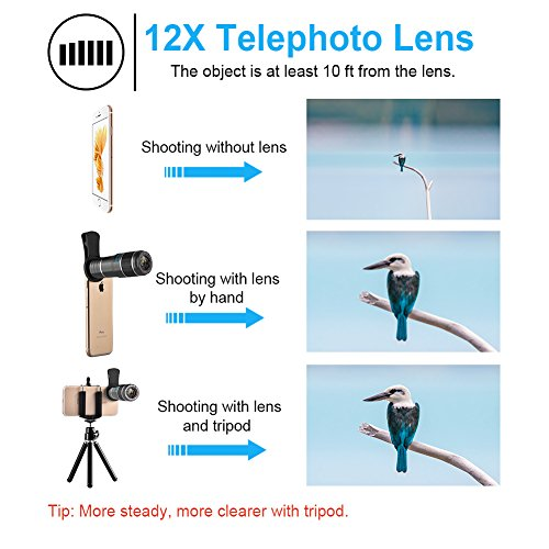 Smartphone Camera Lens, Vorida 6 in 1 iphone telephoto lens, 12X Telephoto Lens + 198° Fisheye Lens + 0.6X Wide Angle Lens + 15X Macro Lens+Tripod+Remote Control for iPhone X 8 7 6 Plus, Samsung,ect by Vorida (Image #1)