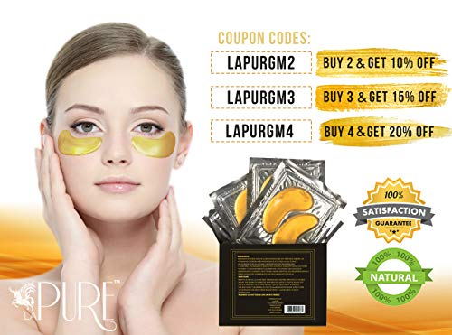 51csCk1bPpL - LA PURE 24K Gold Eye Treatment Masks - Under Eye Patches, Dark Circles Under Eye Treatment, Under Eye Bags Treatment, Eye Mask for Puffy Eyes, Anti-Wrinkle, Undereye Dark Circles, Gel Pads 15 Pairs