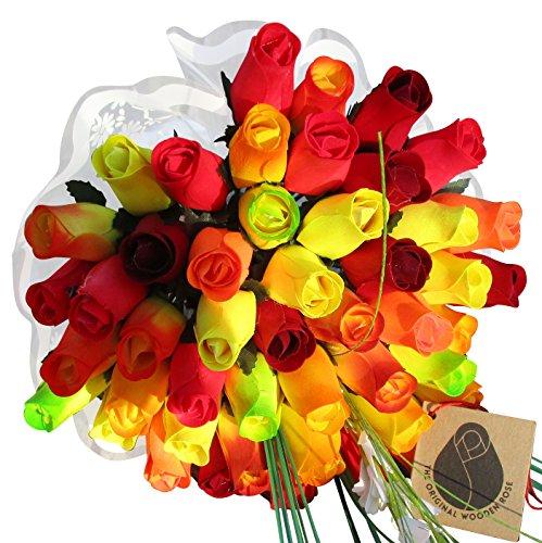 The Original Wooden Rose Fall Harvest Festival Thanksgiving Flower Bouquet Closed bud (3 Dozen) by The Original Wooden Rose (Image #4)