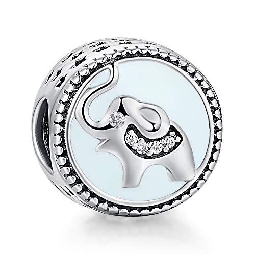 Enamel Animal Charm - Lucky Elephant Charm 925 Sterling Silver Enamel Animal Bead Charms fit European Bracelet