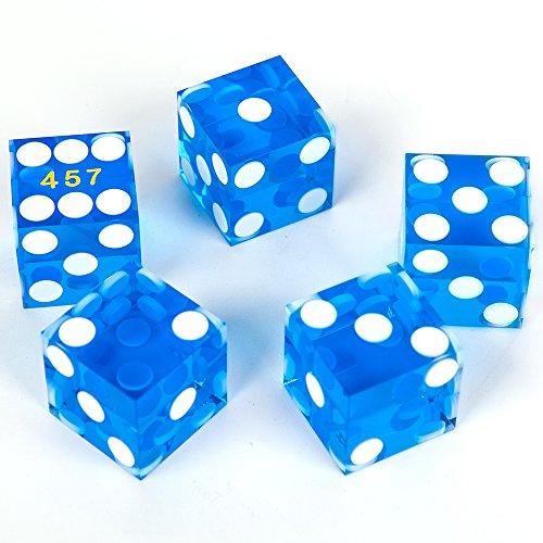 Edge Dice - Gameland 19mm Casino Dice with Razor Edges ,Set of 5 (Blue)