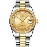 BUREI Unisex Classic Analog Quartz Wrist Watch Gold Dial with Numbers and Rhinestone Date Window Stainless Steel Case and Bracelet (Gold-2)