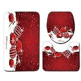 JPJ(TM) New❤Bath Mat❤3pcs Christmas Creative Non-Slip Bath Mat Bathroom Kitchen Carpet Doormats Decor (F)