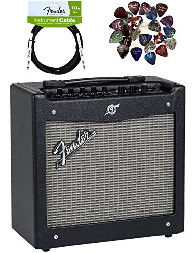 Fender Mustang I Guitar Amplifier Bundle with Instrument Cable, Pick Sampler, and Austin Bazaar Polishing Cloth by Fender