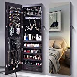 AOOU Jewelry Organizer Jewelry Cabinet, 6 LEDs Full Screen Display View Larger Mirror, Lockable Wall Door Mounted, Full length Mirror, Large Capacity Dressing Mirror Makeup Jewelry Armoire Organizer