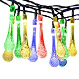 [ 8 Modes, 50LED, 26FT ] Solar Fairy Lights, Mpow Water Drops Solar String Lights Waterproof Christmas Lights Solar Powered Fairy lights for Garden, Patio, Yard, Home, Christmas Tree, Parties (Multi Color)