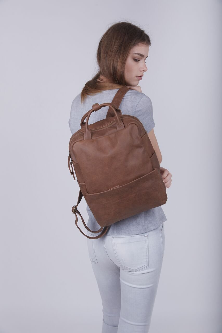 Handmade 13 Inch Genuine Matte Brown Leather Unisex Student Laptop Backpack School Business Work