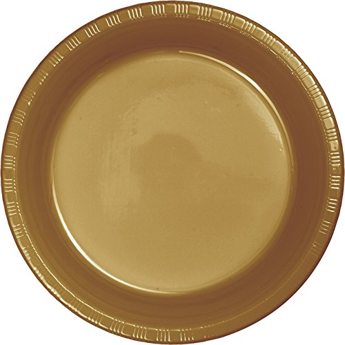 Glittering Gold Paper - 50-Count Premium Plastic Banquet Plates, Glittering Gold