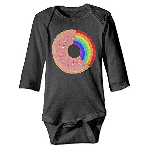 Arromper Taste The Rainbow Dount Boy's & Girl's Long Sleeve Romper Bodysuit Outfits Black 12 - York House Of Pizza