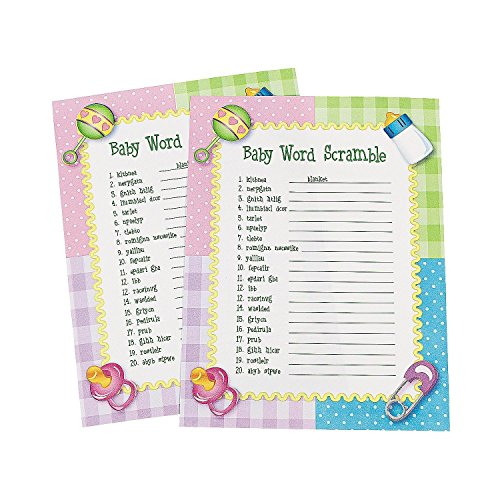 Fun Express Baby Word Scramble Baby Shower Game - 48 Count -