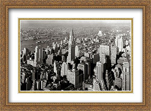 New York City Manhattan Skyline - 1932 2X Matted 38x28 Large Gold Ornate Framed Art Print by The Cityscape Art Print Series 1932 Gold Framed Print