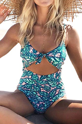 - CUPSHE Women's Lush Leaves Print Back Hook Closure Cut Out at Length One-Piece Swimsuit Beach Swimwear Bathing Suit (M)