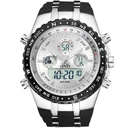 BINZI Big Face Sport Watches for Men, Roman Numeral Waterproof Military Tactical Wrist Watches with Black Band