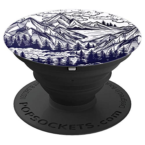 Wanderlust Mountain Scene with Clouds & Pine Trees - PopSockets Grip and Stand for Phones and Tablets