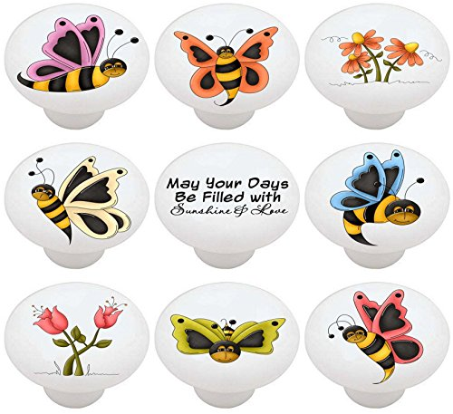 Bee Switchplate (SET OF 9 KNOBS - Butter Bees Country Butterfly Bumble Bee - DECORATIVE Glossy CERAMIC Drawer PULL Dresser KNOB)