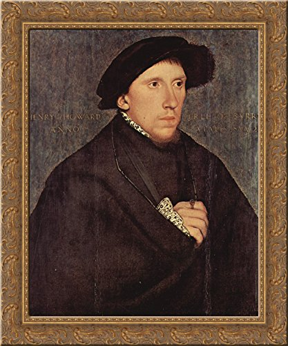 (Henry Howard, Earl of Surrey 24x20 Gold Ornate Wood Framed Canvas Art by Hans Holbein the Younger)