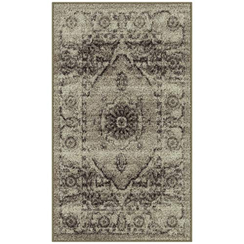 Maples Rugs Kitchen Rugs - Distressed Lexington 1'8 x 2'10 Non Skid Washable Throw Rugs [Made in USA] for Entryway and Bedroom, Neutral