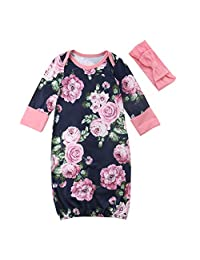 Scfcloth Baby Girl Coming Home Outfits Newborn Baby Girl Long Sleeve Floral Sleeper Growns with Headband