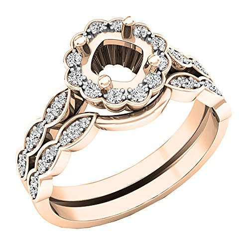 DazzlingRock Collection 0.30 Carat (ctw) 14K Rose Gold Round Diamond Ladies Semi Mount Ring Set 1/3 CT (Size (Diamond Fancy Ring Mounting)