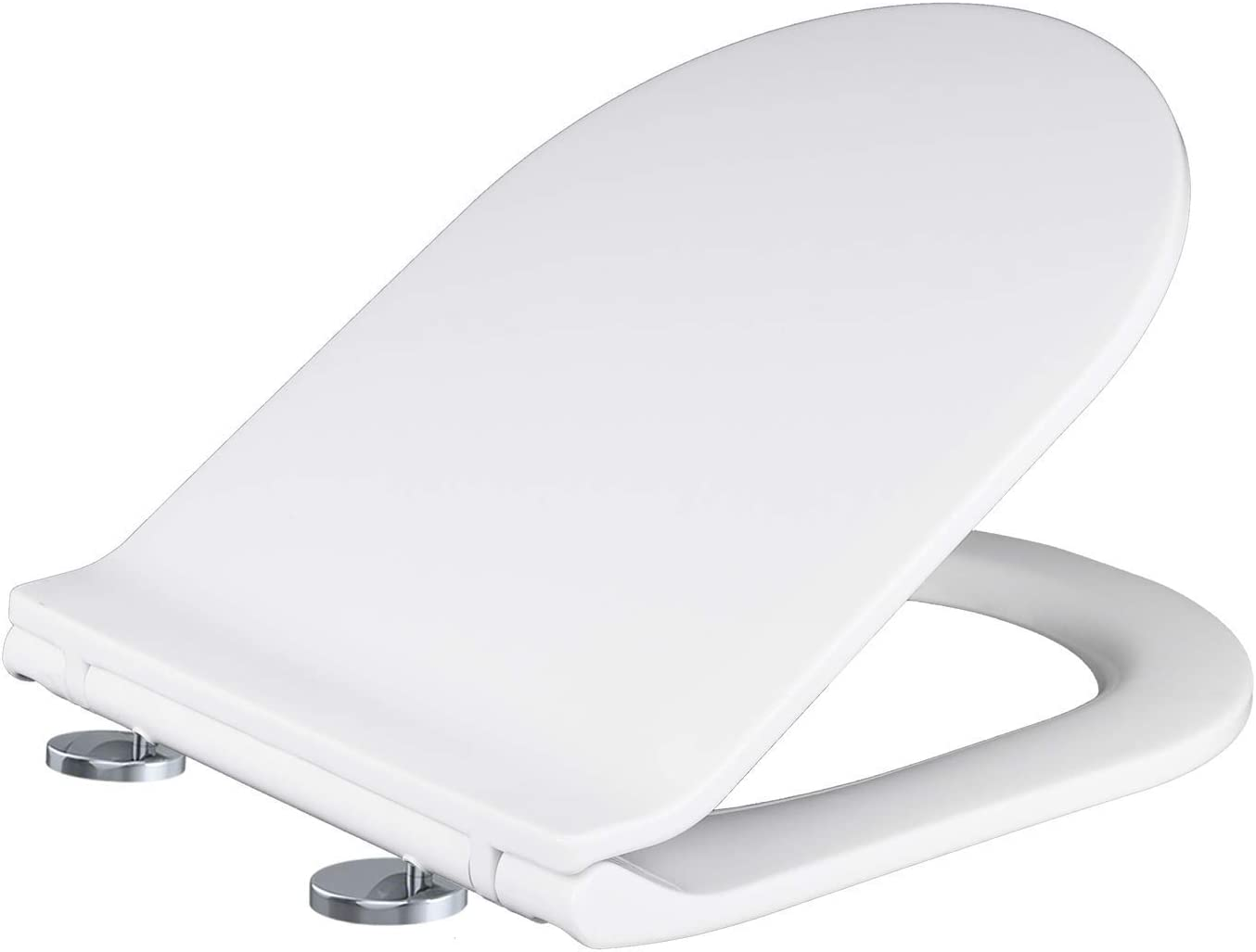 D Shaped (White) Toilet Seat with Soft Close & Quick Release Hinges, PP Material, Easy Installation by Mass Dynamic