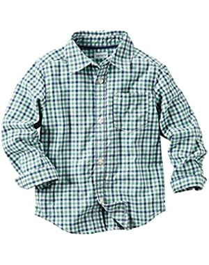 Carter's Baby Boys Plaid Button-Front Shirt - Green