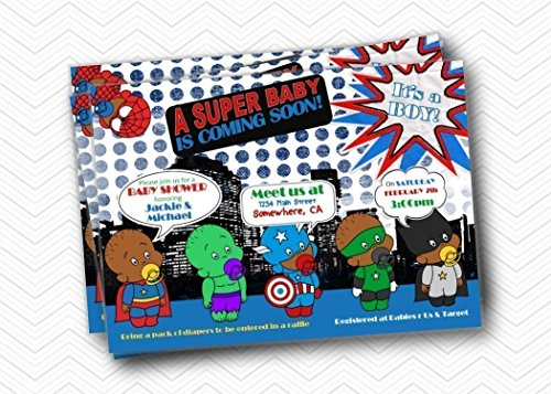 Super Hero Printed African-American Baby Shower Invitations. Boy Baby Shower 5x7 ()