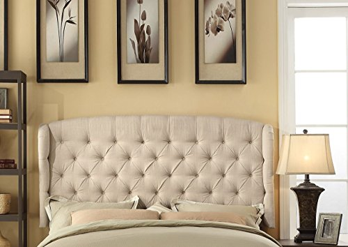 Millbury Home Feliciti Tufted With Wings Queen Upholstered Headboard, Beige