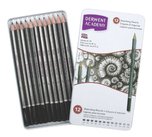 Derwent Academy Sketching Pencils, 12 Degrees of Hardness Metal Tin, 12 Count (Drawing Pencil Hardness)
