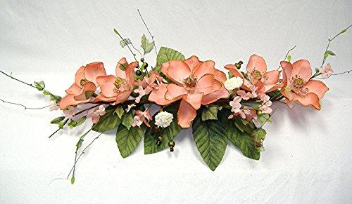 Wedding Flowers 2' Gold Trimmed Magnolia Dogwood Swag Silk Arch Home Party Decor (Peach) by Wedding Flowers