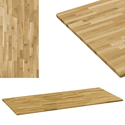 Festnight- Tablero de Mesa de Madera Maciza Roble 23mm 120x60 cm ...