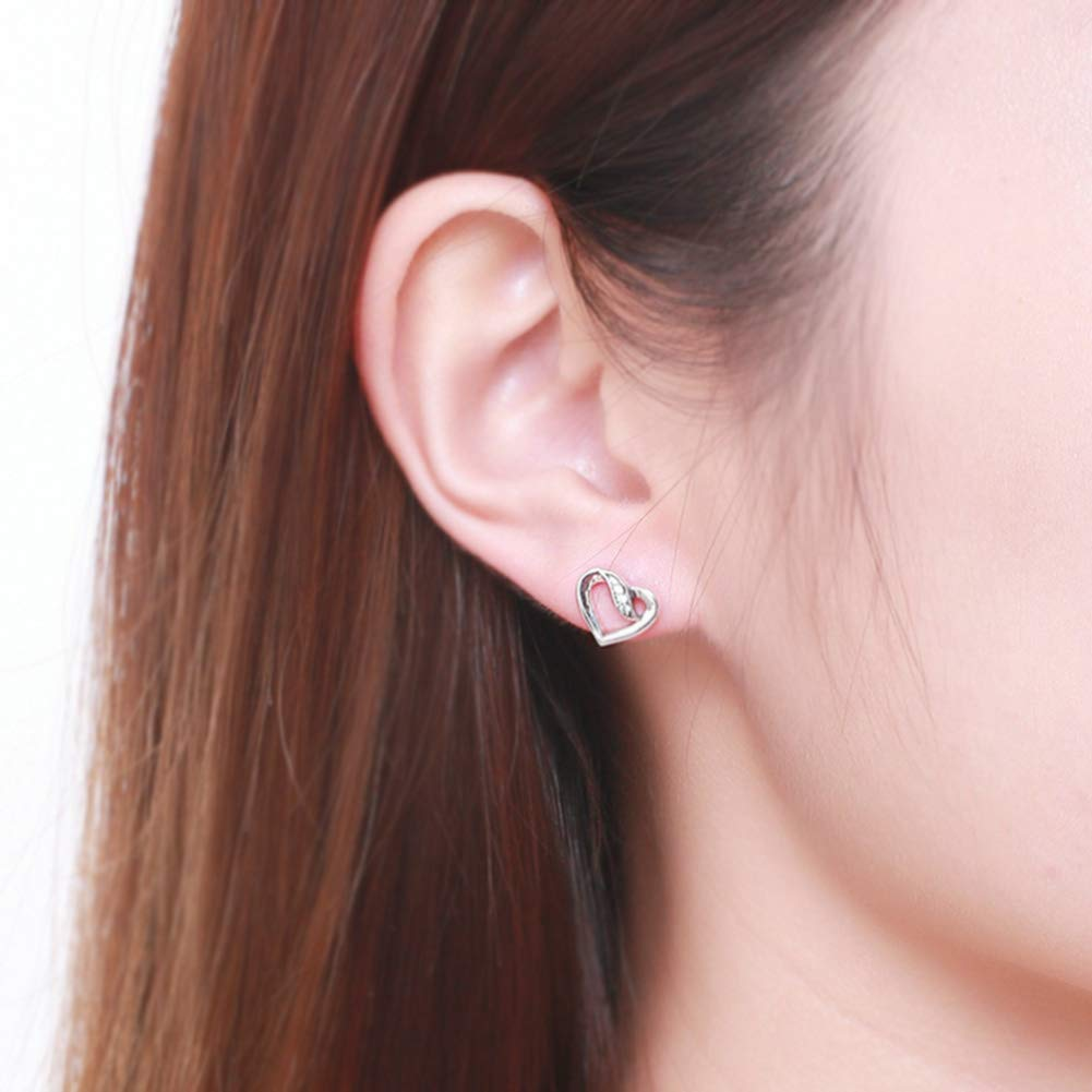 Ladies Fashion Jewelry HSUMING Lover Gift 925 Sterling Silver Heart Stud Earrings for Women Girl
