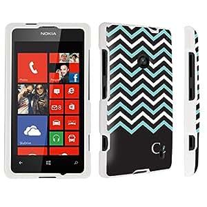 DuroCase ? Nokia Lumia 520 Hard Case White - (Black Mint White Chevron C)
