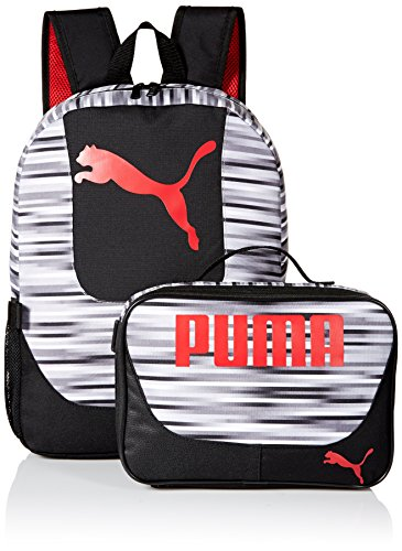 PUMA Boys' Little Backpacks and Lunch Boxes, Black/Red Kit, Youth (Camo Binder Big)