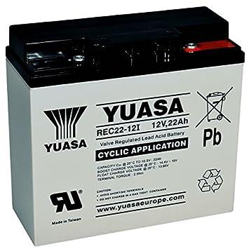 Batería cíclica YUASA REC22-12 12V 22Ah medidas (mm). Largo:181 x Ancho:77 x Alto:167 (Sustituye al modelo YPC22-12): Amazon.es: Electrónica