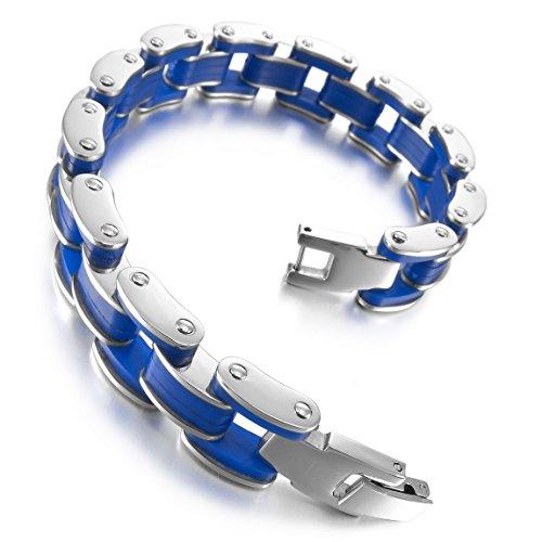 INBLUE Men,Women's Stainless Steel Rubber Bracelet Link Wrist Silver Tone Blue