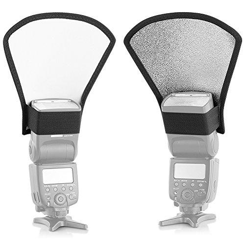 Neewer¨ Flash Diffuser Silver/White Reflector for Nikon Speedlite SB-600,SB-800,SB-900,Canon Speedlite 380EX 430EX