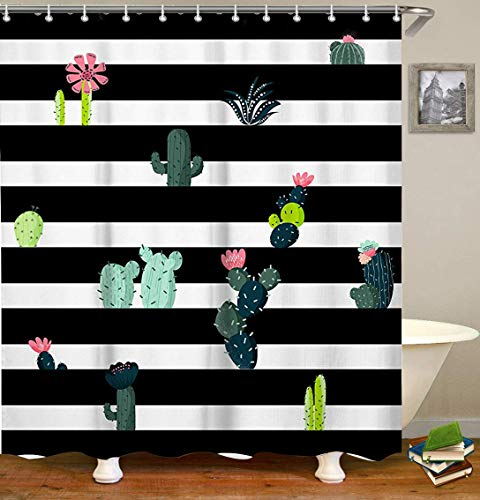 LIVILAN Black White Stripe Fabric Shower Curtain Set with 12 Hooks Cactus Bathroom Curtain 70.8