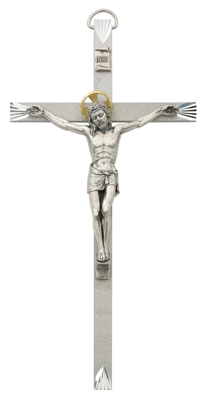 10 Inch Engraved Metal Crucifix Home Wall D cor Religious Catholic Christian