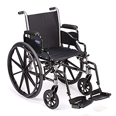 """Invacare Tracer SX5 Wheelchair, with Desk Length Arms and T93HCP Composite Footrests with Heel Loops, 18"""" Seat Width, 1193458"""