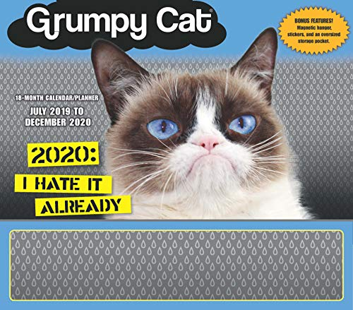 Grumpy Cat 2020 Calendar Family Planner Organizer with Magnetic Hanger, Storage Pocket and Stickers: 18-Month: July 2019 - December 2020
