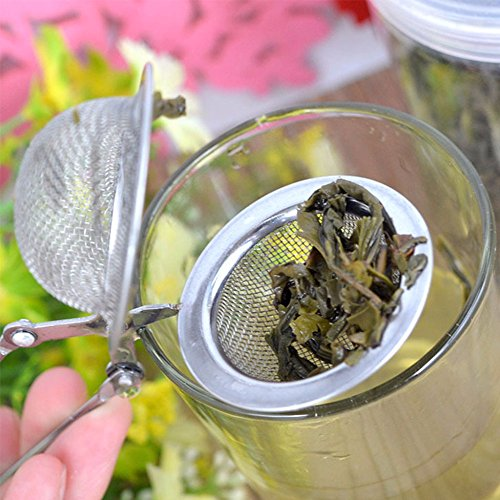 Funnytoday365 Handle Mesh Strainer Snap Ball Loose Leaf Tea Infuser Stainless Steel Secure Locking Tea Accessories by FunnyToday365 (Image #2)