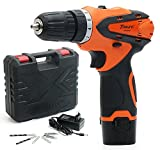 TOKUYI 12V 1500mAh Lithium-Ion Cordless Drill Driver Kit, 3/8 Keyless Chuck,2-Speed, LED Light with Advance Battery Cell and Charger
