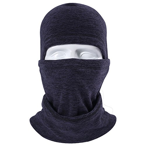 JIUSY Multifunctional Fleece Hood Balaclava Windproof Neck Warmer Face Mask Adjustable with Drawstring for Ski Snowboard Hunting Winter Outdoor Sports RZ-K-A-02 Dark Blue (Navy Back Mask Face)