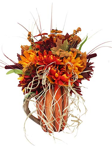 Online 24/7 LLC Fall Decoration Harvest Pumpkin Pitcher Vase Floral Bouquet   Great Gift idea for Fall Birthdays, Anniversaries and Family Gatherings.